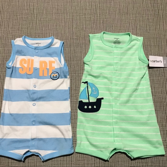 7c76bcf30db2 Two Carter s Baby Boy Rompers